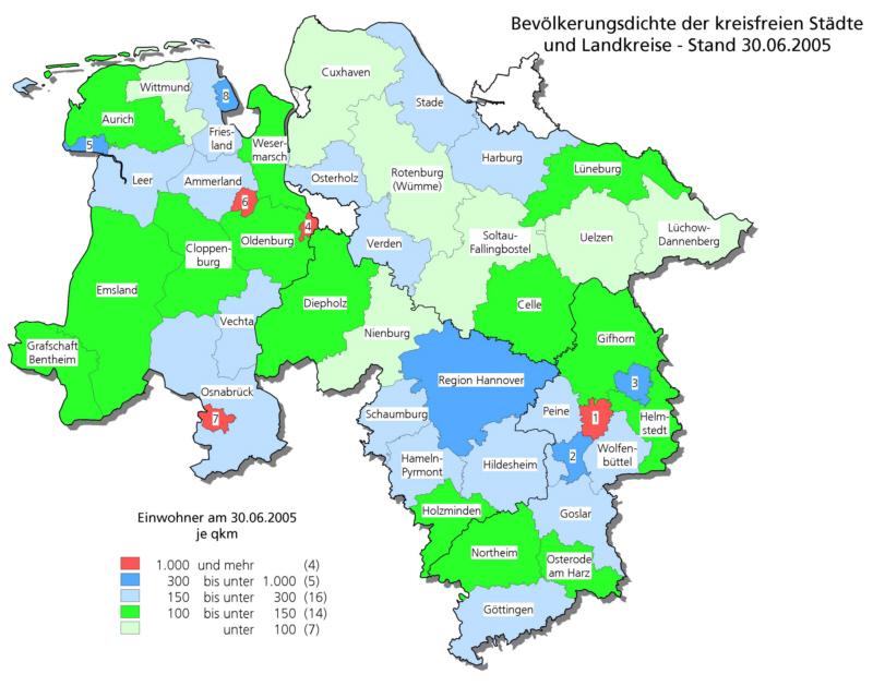 Niedersachsen Karte Mit Städten.Bevölkerungsdichte Der Kreisfreien Städte Und Landkreise Karten